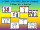 """8.5x11"""" printable Spanish posters- 4 tipos de oraciones / 4 types of sentences"""