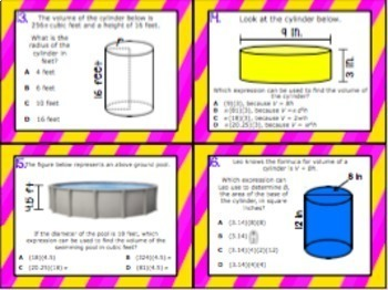 8.6A: Volume of Cylinders STAAR Test Prep Task Cards (GRADE 8)