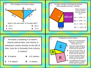 8.6C: Modeling the Pythagorean Theorem STAAR EOC Test Prep Task Cards