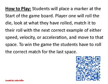 8.6b Speed, Velocity, Acceleration Game
