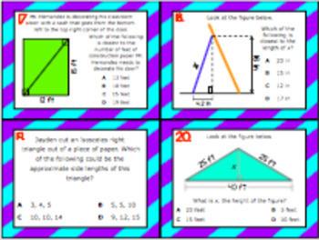 8.7C: Pythagorean Theorem STAAR Test-Prep Task Cards (GRADE 8)