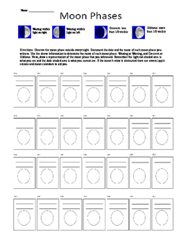 8.7b Moon Phase Documentation Calendar for 1 Month