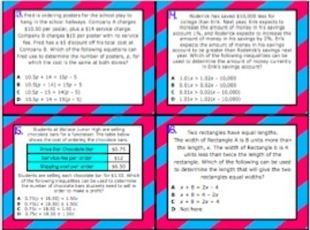 8.8A: Writing Equations & Inequalities STAAR Test Prep Task Cards (GRADE 8)