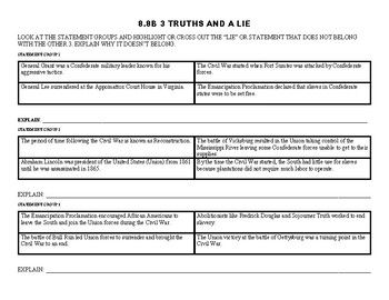 8.8B 3 Truths and a Lie STAAR Review Activity