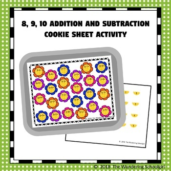 8, 9, 10 Addition and Subtraction Cookie Sheet Activity
