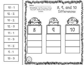 8, 9, 10 Sums and Differences Sort, Cut, and Paste