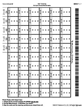 8 & 9 XTables Multiple-Choice Worksheets