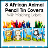 8 African Animal Pencil Tin Covers with Matching Labels