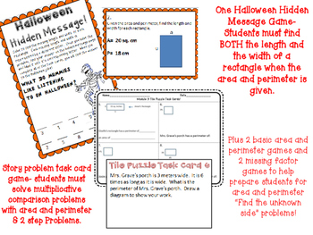 8 Area and Perimeter Math Center Games Fourth Grade Story Problems Multi STep