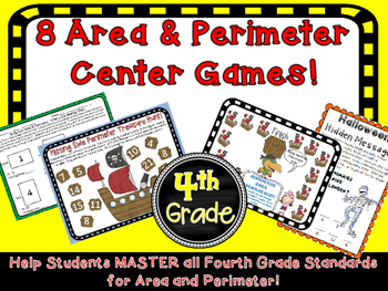 8 Area and Perimeter Math Center Games Fourth Grade Story