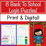 8 Back To School Logic Puzzles Print & Google Paperless! Critical Thinking!