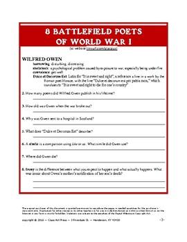 WWI: 8 Battlefield Poets: History Channel Webquest