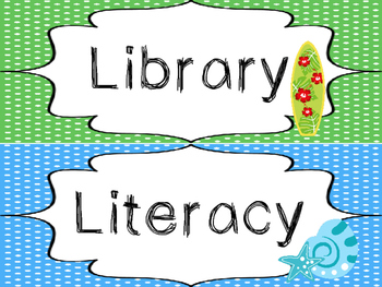 8 Beach themed Printable Classroom Center Signs. Class Accessories.