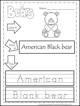 8 Bear themed printable preschool worksheets.  Color, Read, Trace wor