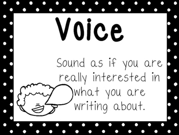 8 Black and White 7 Traits of Writing Printable Posters/Anchor Charts.