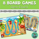8 Board Games: Boom cards, speech therapy, fun, zoo, space