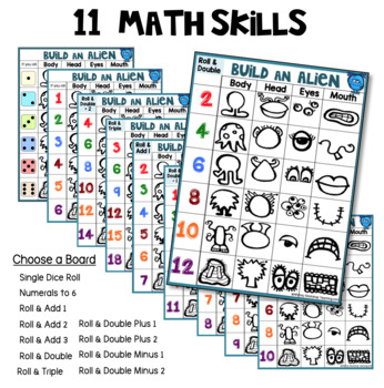 8 Build A Clown Math and Literacy Game (from Roll Draw Write Full Year Bundle)