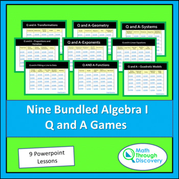 9 Bundled Algebra I Powerpoint Q and A Games