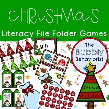 Christmas Literacy File Folder Games