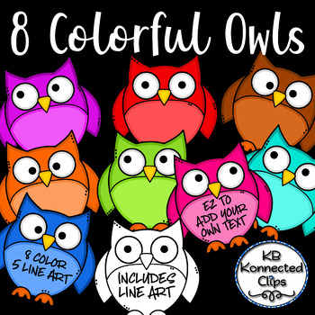 8 Colorful Owls - Add Your Own Text - Line Art Too! Clip Art