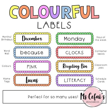 8 Colourful Labels