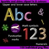 Alphabet Clip Art 8 Color Sparkle and Shine , Punctuation, Math Symbol & Numeral