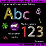 Alphabet Clip Art 8 Color Sparkle and Shine , Punctuation,
