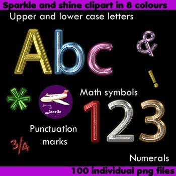 Alphabet Clip Art 8 Color Sparkle and Shine , Punctuation,
