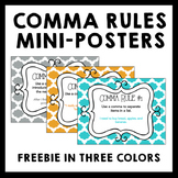 Comma Usage Rules - 8 Mini Posters in Blue, Orange, and Grey