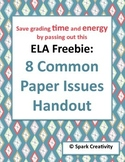 8 Common Formal Paper Issues Handout: HUGE TIME SAVER for