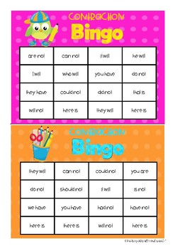 8 Contraction Games and Worksheets Bundle