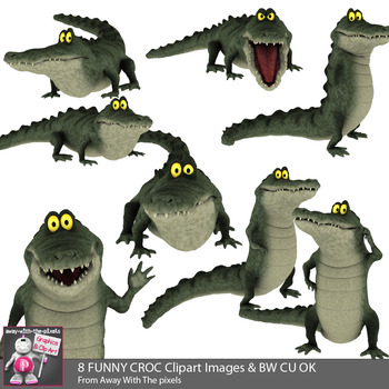 8 Cute Cartoon Style Crocodile Clip Art Images / Color and Black and White