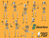 8 Dancing Halloween Skeletons