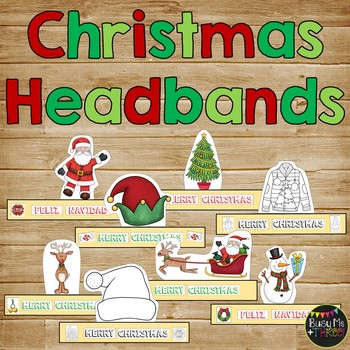 8 Different CHRISTMAS Themed Sentence Strip Headbands {Black Line & Color}