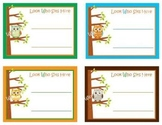 8 Different Desk Name Tags - Wise Little Owls - 4 Boy and 4 Girl