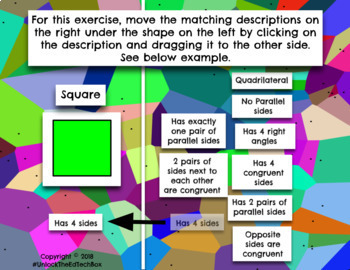6 Digital Moveable Math Quadrilateral Cards Google Slide PowerPoint