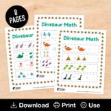 8 Dinosaur Math Worksheets, Basic Addition & Subtraction for Kindergarten / PreK
