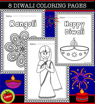 8 Diwali Coloring Pages. Large images for younger children.