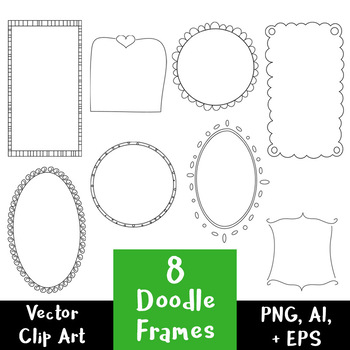 8 Doodle Frames Hand Drawn Clipart | Decorative Digital Borders | Vector + PNG