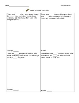 8 Double-sided Word Problem Worksheets- Easy to differentiate