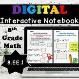 8.EE.1 Digital Interactive Notebook, Exponent Laws