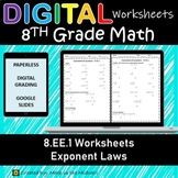8.EE.1 Digital Worksheet⭐Exponent Laws for Google Classroom
