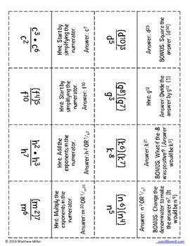 8.EE.1 Exponent Rules Quiz-Quiz-Trade Cards