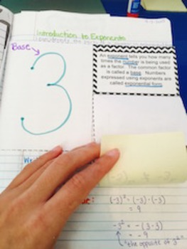 8.EE.1 Exponential Notation Interactive Notebook Flipable
