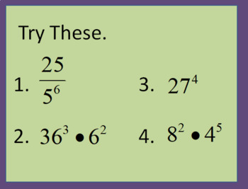8.EE.1 Intro Lesson to Working with Exponents and Unlike Bases (PowerPoint)