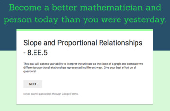 8.EE.5 - Slope and Proportional Relationships Quiz (Google Forms + Paper)
