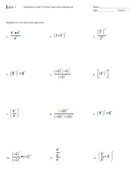8.EE.1 WS: Operations with Positive Exponents-Advanced