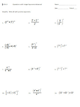 8.EE.1 Worksheet: Operations with Integer Exponents-Advanced