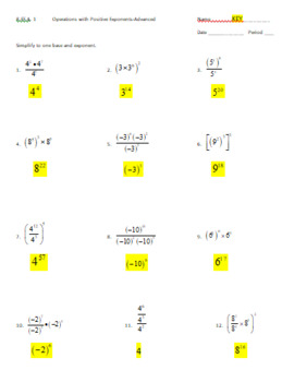 8.EE.1 Worksheet: Operations with Positive Exponents-Advanced
