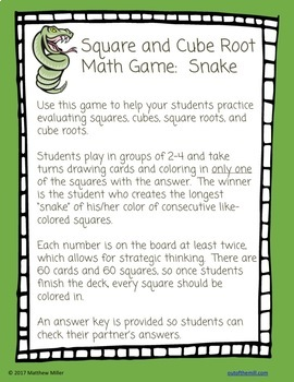 8.EE.2 Square and Cube Roots Math Game: Snake
